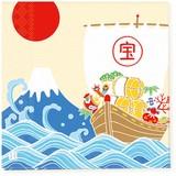 ペーパーナプキン大漁旗 富士山と宝船 インバウンド商品