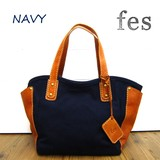 fes Canvas Material Leather Handbag