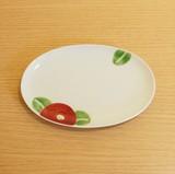 【有田焼】赤椿 楕円皿