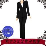 【SALE】♪日本製♪ピークドラペルベーシックブラックパンツスーツ【値引き】