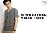 ブロックチャック柄ジャガード半袖VネックTシャツ