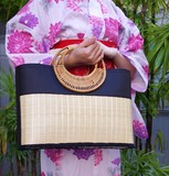 [夏物ファッション]竹製カゴバッグ☆軽くて丈夫!浴衣や和装に<全2色>