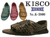 Genuine Leather Men's Cow Leather Mesh Closs Leather Sandal