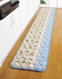 キルトマット フルータ ブルー(250) <キッチンマット 花柄 ベッドサイドマット>