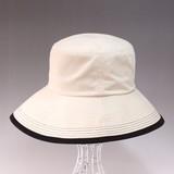 再値下げ【2015年春夏 半額セール】バイカラーパイピングハット帽子<ピーチツイル>手洗い可能