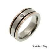 リング ステンレス フラット ピンクゴールド サイドライン シンプル 指輪 ストーン 太め リング