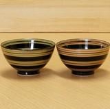 【有田焼】天目ライン 茶付(飯碗)(緑/赤)