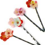 花ヘアピン(2本セット)(色・柄アソート)<日本製>【京都 和雑貨 和小物 ヘアアクセサリー】