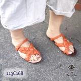 【C.I.L.】水牛革 手編み クロストングタイプ メッシュサンダル