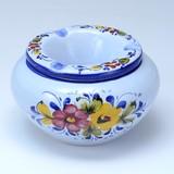 【ポルトガル製】おしゃれ 灰皿 フタ付き 丸型 白 陶器製 優しい小花柄 ピンク アッシュトレイash