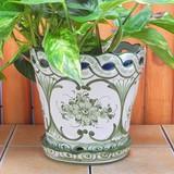 【ポルトガル製】陶器 受け皿付 植木鉢《底穴あり》ハンドペイント花柄・グリーン  プランター 19cm
