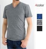 <SALE><2015年春夏新作>杢カラー 良質 ベア天 半袖 Tシャツ / ミックスカラー Vネック 無地