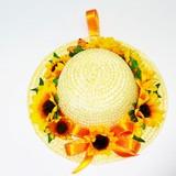 【光触媒加工】ひまわりアレンジメント フラワーハット【向日葵】【春夏の花】【フェイクグリーン】