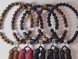天然石念珠10mm 黒檀、紫檀15mm 各宗派共通 片手念珠
