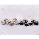 日本製【flower charm&ribbon】フラワーチャーム&リボンイヤリング