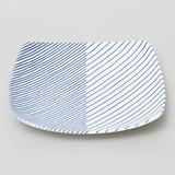 【白山陶器】【波佐見焼】【重ね縞・反角中皿】16.5×16.5cm 250g