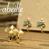 再入荷【abeille】3サンカクマルチカラー キャッツアイイヤリング!2色展開 フェミニン **