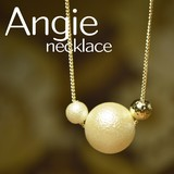 NEW【Angie】コットンパール2コ+ゴールドボール ゴールド ネックレス!シンプル&フェミニン!