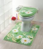Toilet Mat Marie Green Floral Pattern Ribbon