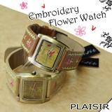 【Plaisir プレジール】花柄刺繍デザイン アンティークフェイス レディース ウォッチ 腕時計