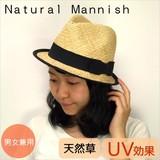 黒いリボンの天然マニッシュ<男女兼用・UV対策・ガーリー・・ペーパー/天然>