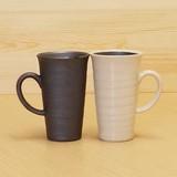 【有田焼】 焼締点彫/白マット(ゆず釉) 手付ビアカップ