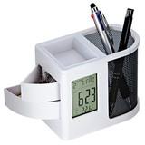 ペン立てクロック(白) / ペン立て 置時計 [海外発送相談可]