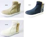 【 秋冬 】ネイビー LLだけのためこの価格!スムースとテキスタイルのコンビ ファー付ブーツ