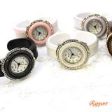 お花のカラフルプラスティックバングルウォッチ レディース腕時計