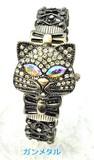 キラキラ猫フェイスのバングルウォッチ レディース腕時計