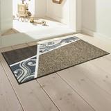 【直送可】【洗える玄関マット】伝統的なベルギー絨毯模様×モダン<ベージュ>