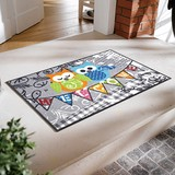 Washable Doormat Lucky Motif Colorful Owl Illustration Mat