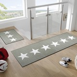 Washable Entrance Kitchen Mat Lucky Motif Star Sand