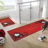 【直送可】【洗える玄関キッチンマット】猫 ・ハート・ドットの組み合わせがポップで可愛いデザイン