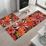 Entrance Kitchen Mat Vivid Color Space Spitefully Tropical Floral Pattern