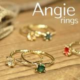 **NEW【Angie】5色展開。ブリリアントカラークリスタル立て爪リング!シンプル&フェミニン**