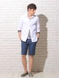 <RegiusEvolution>Linen Design Shirt / レジエボ 7分袖 シャツ リネン 切り替え 刺繍