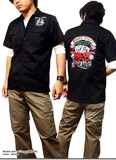 ★豪華な刺繍が価値観大!★BILLY EIGHTのモーターサイクルバイカー刺繍ロカビリー半袖シャツ★