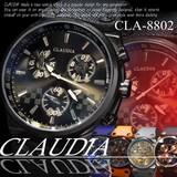 【選べるケース有or無♪】◇-CLAUDIA- 腕時計 革バンド デザインクロノグラフ◇CLA-8802