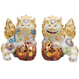 【九谷焼】4.5号対獅子 白盛