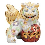 【九谷焼】6.5号立獅子(左) 白盛