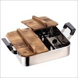 【家庭で本格おでん屋さん♪】 だんらん ステンレス製木蓋付 角型おでん鍋