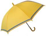 【キッズ傘】無地グラスファイバー骨2駒透明窓と反射テープ付き55cmジャンプ傘