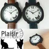 Plaisir(プレジール)猫耳デザイン☆ベルト腕時計
