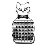 万年カレンダー/ねこ
