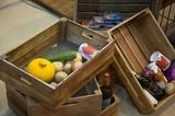 【直送可】古材を使用した味のあるベジタブルボックス