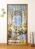 Long Japanese Noren Curtain Floral Pattern