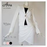 【Ava新作】 115033 サテン胸あて付きテーラードジャケットドレープスカートスーツ
