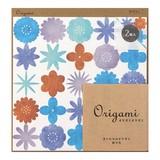 【大人の女性に使ってほしい♪】オリガミ<15角> 水彩 花柄 青