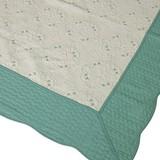 綿100% 両面使える刺繍入り水洗いキルトマルチカバー「サンマリノ」 GN